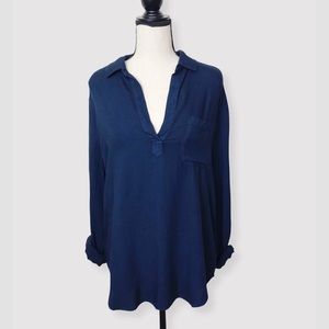 ANTHROPOLOGIE Cloth & Stone Blue Collar Blouse